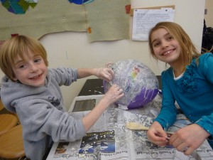 WES students enjoy paper mache!